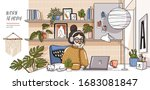 work at home  vector cute... | Shutterstock .eps vector #1683081847