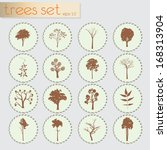 trees icons set | Shutterstock .eps vector #168313904