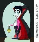 cartoon vampire with a lantern   Shutterstock . vector #168317849