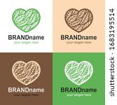 Set Of Logos Of Hearts With...