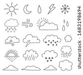 doodle weather icon set. sun ... | Shutterstock .eps vector #1683198694
