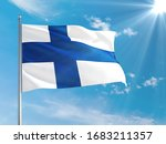 Finland national flag waving in ...