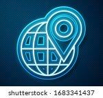 glowing neon line location on... | Shutterstock .eps vector #1683341437