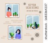 stay home concept. house facade ... | Shutterstock .eps vector #1683364237