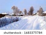Winter Snow Village Road View....