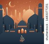 eid mubarak mosque dome... | Shutterstock .eps vector #1683377251
