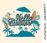 hello summer lettering print.... | Shutterstock .eps vector #1683389977