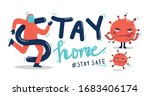 let's stay home  work at home... | Shutterstock .eps vector #1683406174