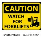 caution watch for forklifts... | Shutterstock .eps vector #1683416254