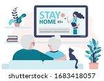 elderly couple watch news on tv....   Shutterstock .eps vector #1683418057