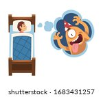 cute girl sleeping in bed and... | Shutterstock .eps vector #1683431257