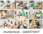 volunteers with donations and... | Shutterstock . vector #1683473347