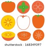 persimmon set. isolated... | Shutterstock .eps vector #168349397