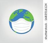 world illustration wearing mask ...   Shutterstock .eps vector #1683516124