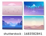 vector polygonal landscape. set ... | Shutterstock .eps vector #1683582841