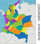 colorful colombia political map ... | Shutterstock .eps vector #1683603637
