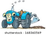 blue tractor with smile. | Shutterstock .eps vector #168360569
