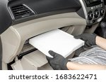 Small photo of Women driver remove air filter in cooling system by myself check dust and amiss in Passenger car of car service concept