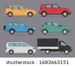 set of different car icons and... | Shutterstock .eps vector #1683663151