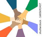 hands of diverse group of...   Shutterstock .eps vector #1683692437
