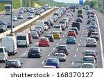 traffic jam on german highway.... | Shutterstock . vector #168370127