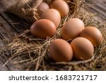 Brown Eggs Lay On Straw In A...