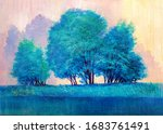 Trees On The Lake. Hand Painted ...