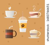 flat coffee set. vector... | Shutterstock .eps vector #1683766651