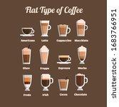 flat coffee set. vector... | Shutterstock .eps vector #1683766951
