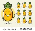 set of cute pineapple fruit... | Shutterstock .eps vector #1683780301