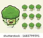 set of cute broccoli character...   Shutterstock .eps vector #1683799591