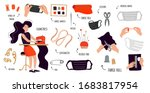 a woman sews a mask on a sewing ... | Shutterstock .eps vector #1683817954