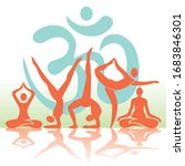 yoga positions silhouettes...   Shutterstock .eps vector #1683846301