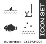 set cold and waves  shark fin... | Shutterstock .eps vector #1683924004