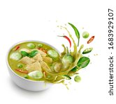 Small photo of Thai food chicken green curry isolated on white background ,sliced chicken beast fillets, quartered eggplants, pea eggplant, basil leaves ,Kaffir lime leaves and pepper Splash on the air.