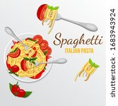 pasta at fork with basil and... | Shutterstock .eps vector #1683943924