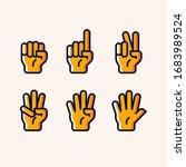 set of hand gesture count 1 2 3 ...   Shutterstock .eps vector #1683989524