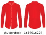 red long sleeve collared shirt. ... | Shutterstock .eps vector #1684016224