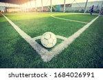 Soccer ball on green artificial ...