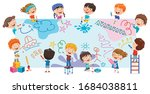 art concept design with funny... | Shutterstock .eps vector #1684038811