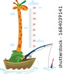 giraffe in a fishing boat meter ...   Shutterstock .eps vector #1684039141