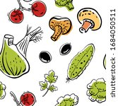 seamless pattern with fennel ... | Shutterstock .eps vector #1684050511