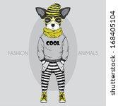 hand drawn fashion illustration ... | Shutterstock .eps vector #168405104