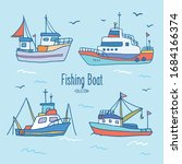 boats collection. cute hand... | Shutterstock .eps vector #1684166374