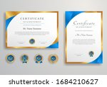 blue and gold certificate of... | Shutterstock .eps vector #1684210627