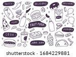 set of hand drawn junk food...   Shutterstock .eps vector #1684229881