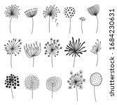 Doodle Dandelion Set. Hand...