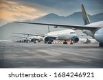 Small photo of Due to Coronavirus Covid-19 airline fleet parked at the Airport