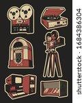 retro electronics set  reel... | Shutterstock .eps vector #1684386304