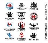 set of fitness center logo .... | Shutterstock .eps vector #1684465747